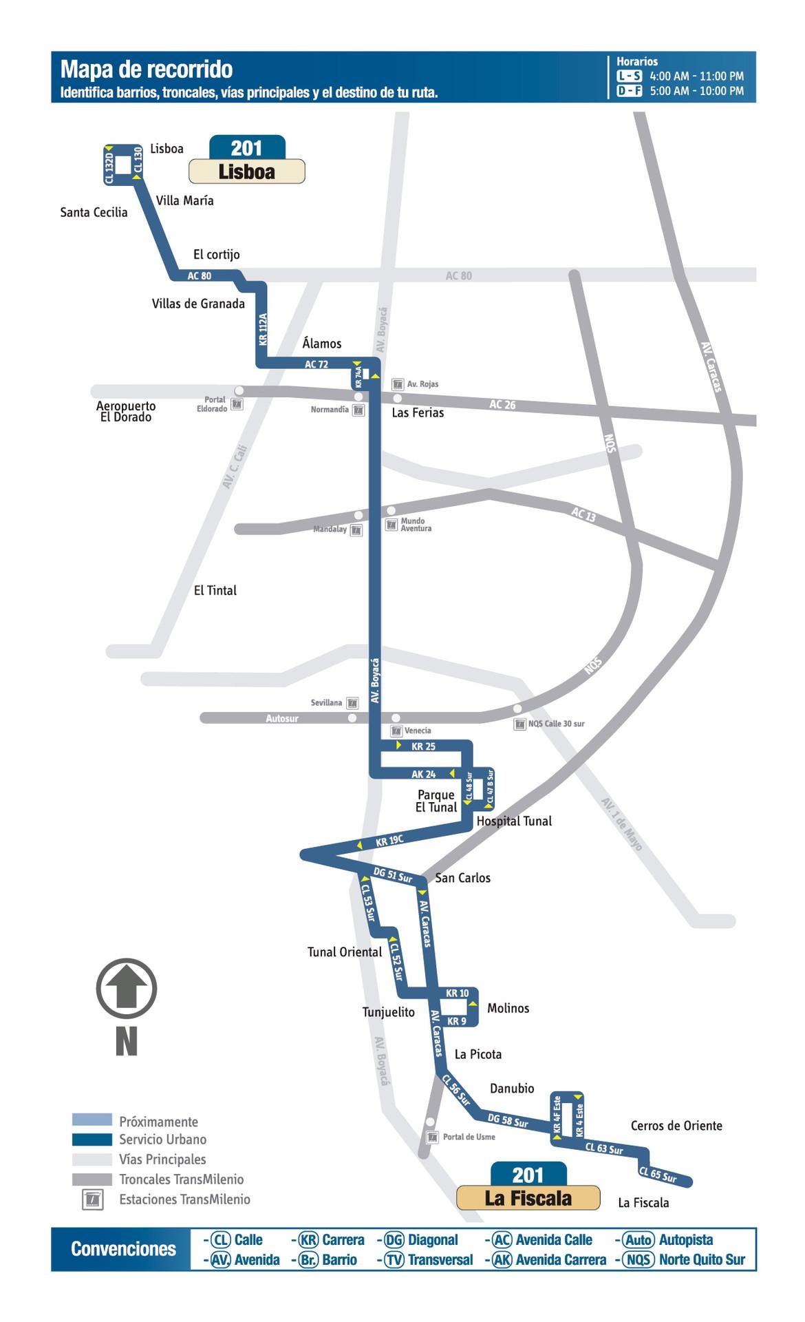 Ruta SITP: 201 Lisboa ↔ La Fiscala [Urbana] 6
