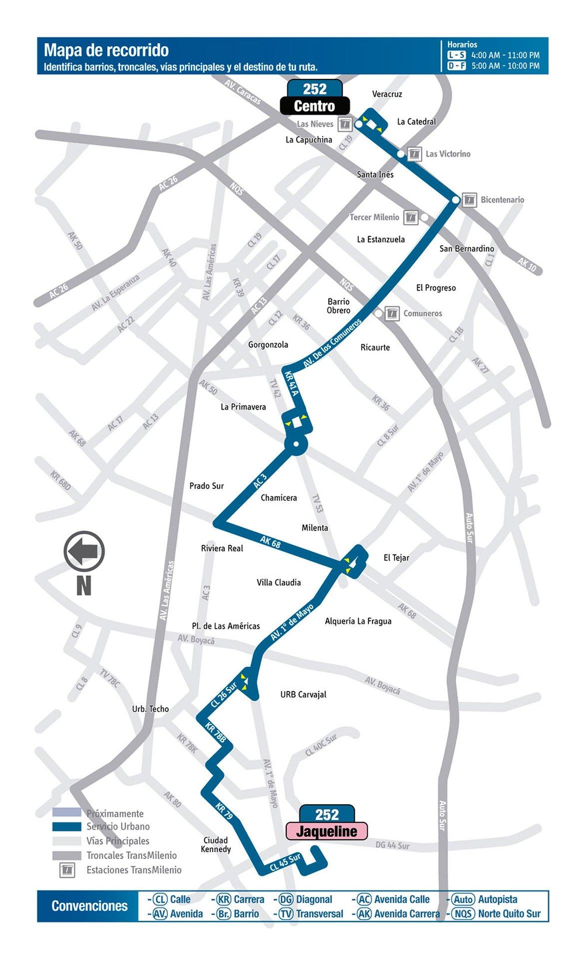 Ruta SITP: 252 Jaqueline ↔ Paloquemao [Urbana] 5