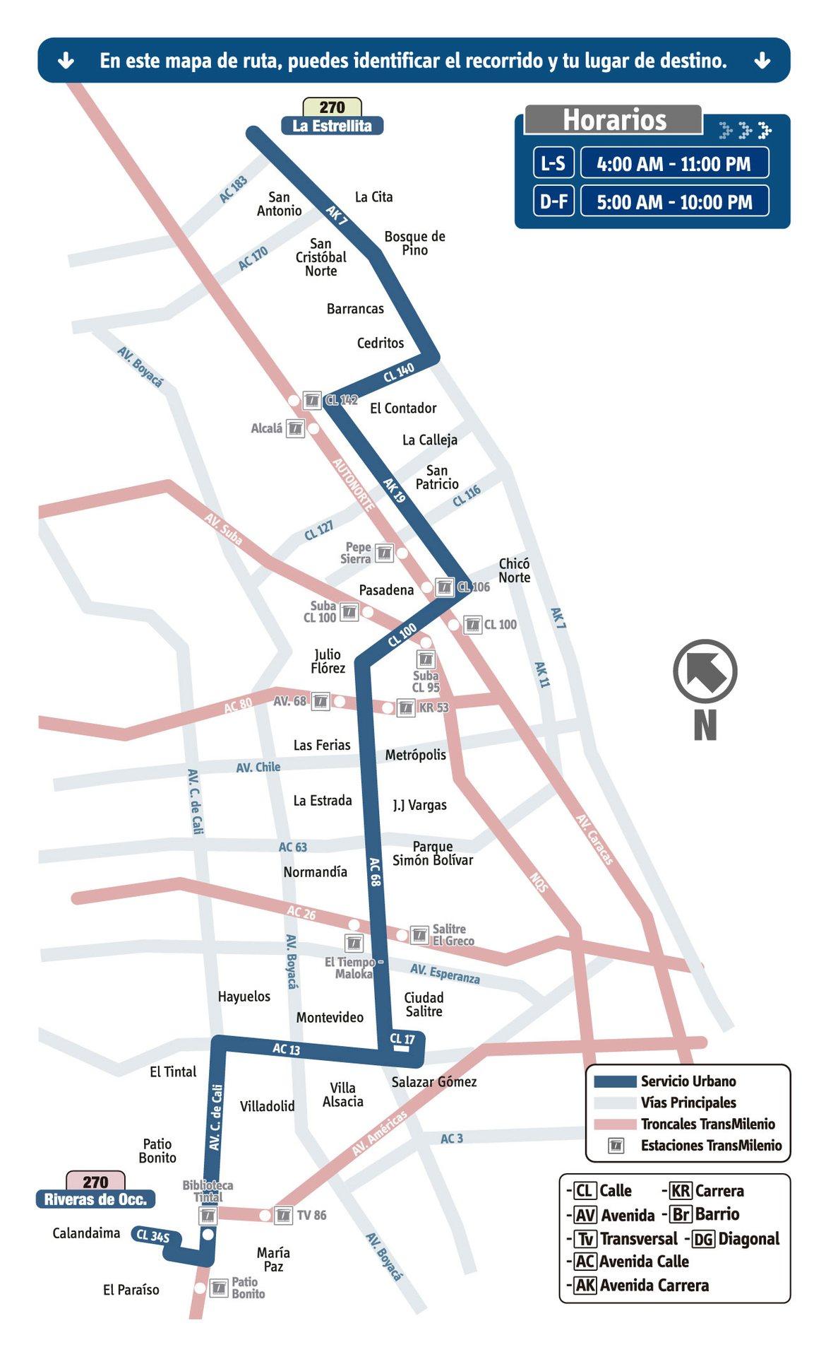 Ruta SITP: 270 La Estrellita ↔ Riveras de Occidente [Urbana] 5