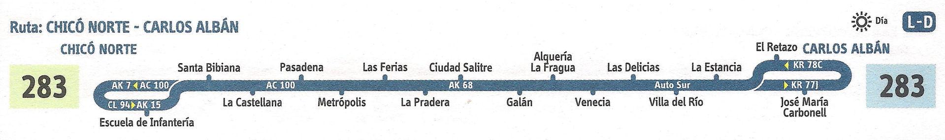 Ruta SITP: 283 Carlos Albán ↔ Chicó Norte [Urbana] 5