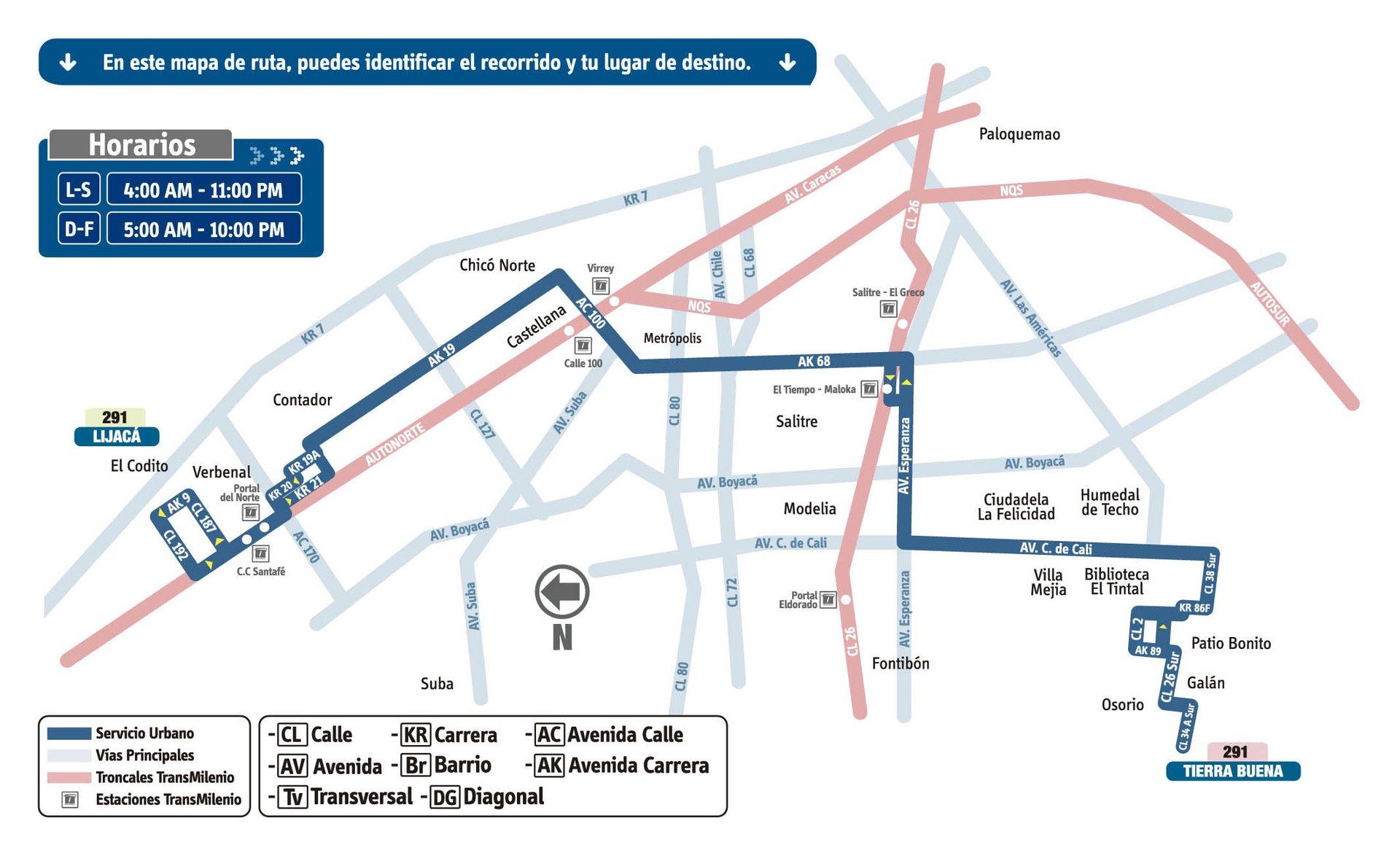 Ruta SITP: 291 Tierra Buena ↔ Lijacá [Urbana] 6