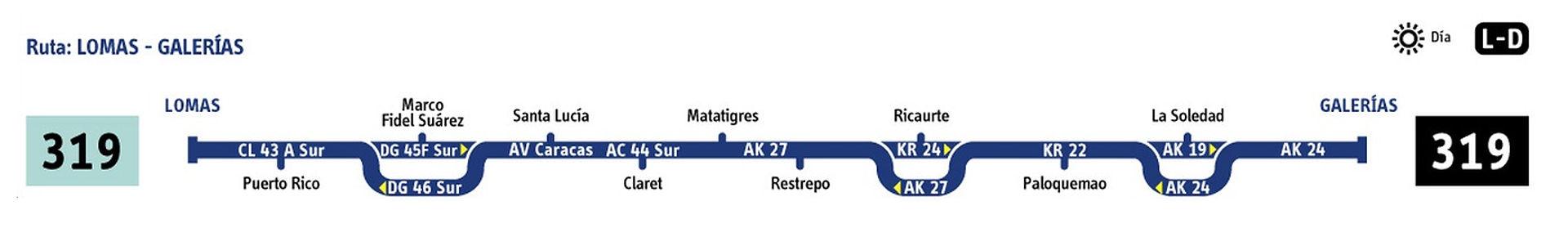 Ruta SITP: 319 Lomas ↔ Villa Cindy (Recortada hasta 7 de Agosto) [Urbana] 6