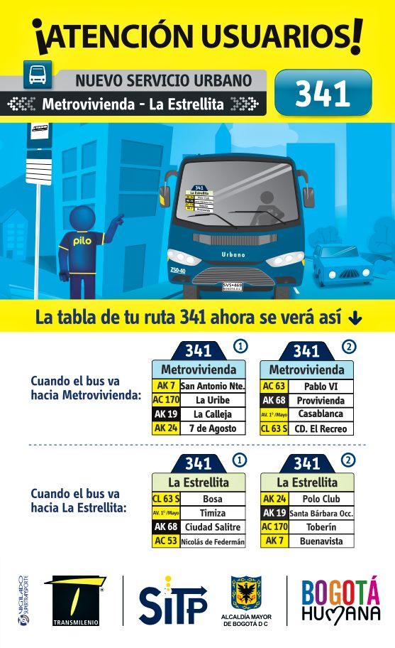 Inicia completa la ruta 341: Metrovivienda - La Estrellita