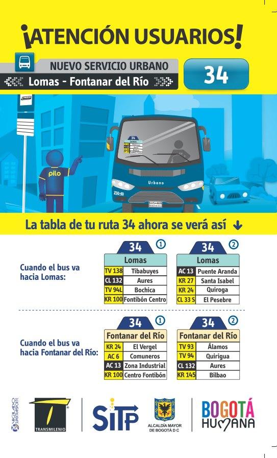 Ruta urbana 34 - volante - Lomas, Fontanar del Río