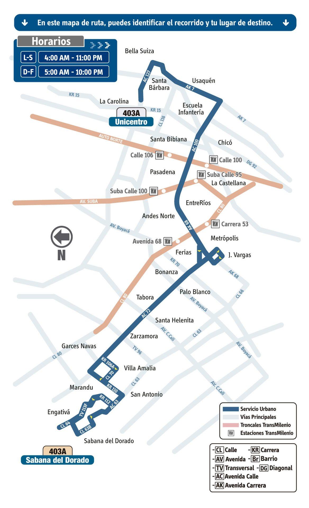 Ruta SITP: 403A Sabana del Dorado ↔ Unicentro [Urbana] 4