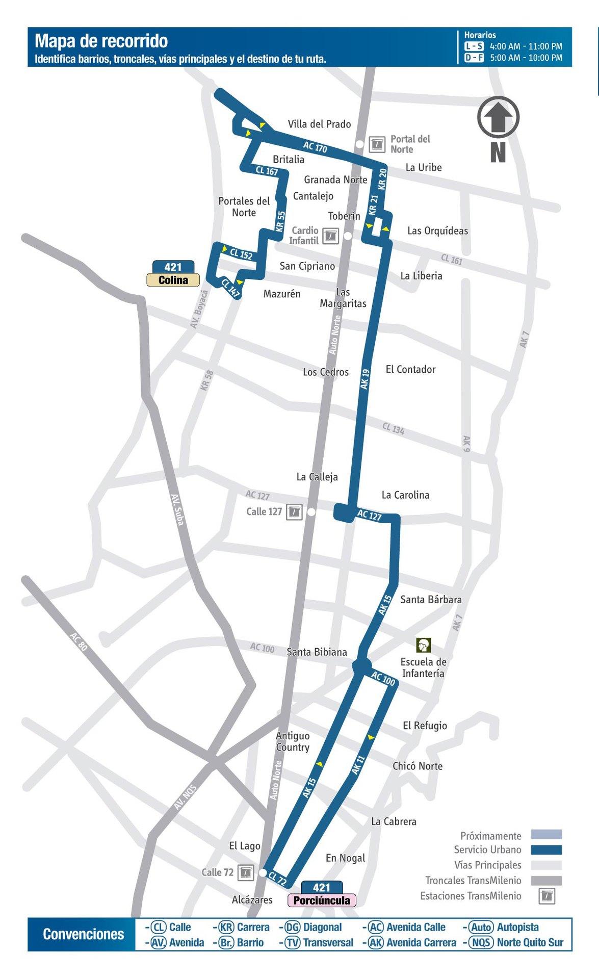 Ruta SITP: 421 San Cipriano ↔ La Porciúncula [Urbana] 5