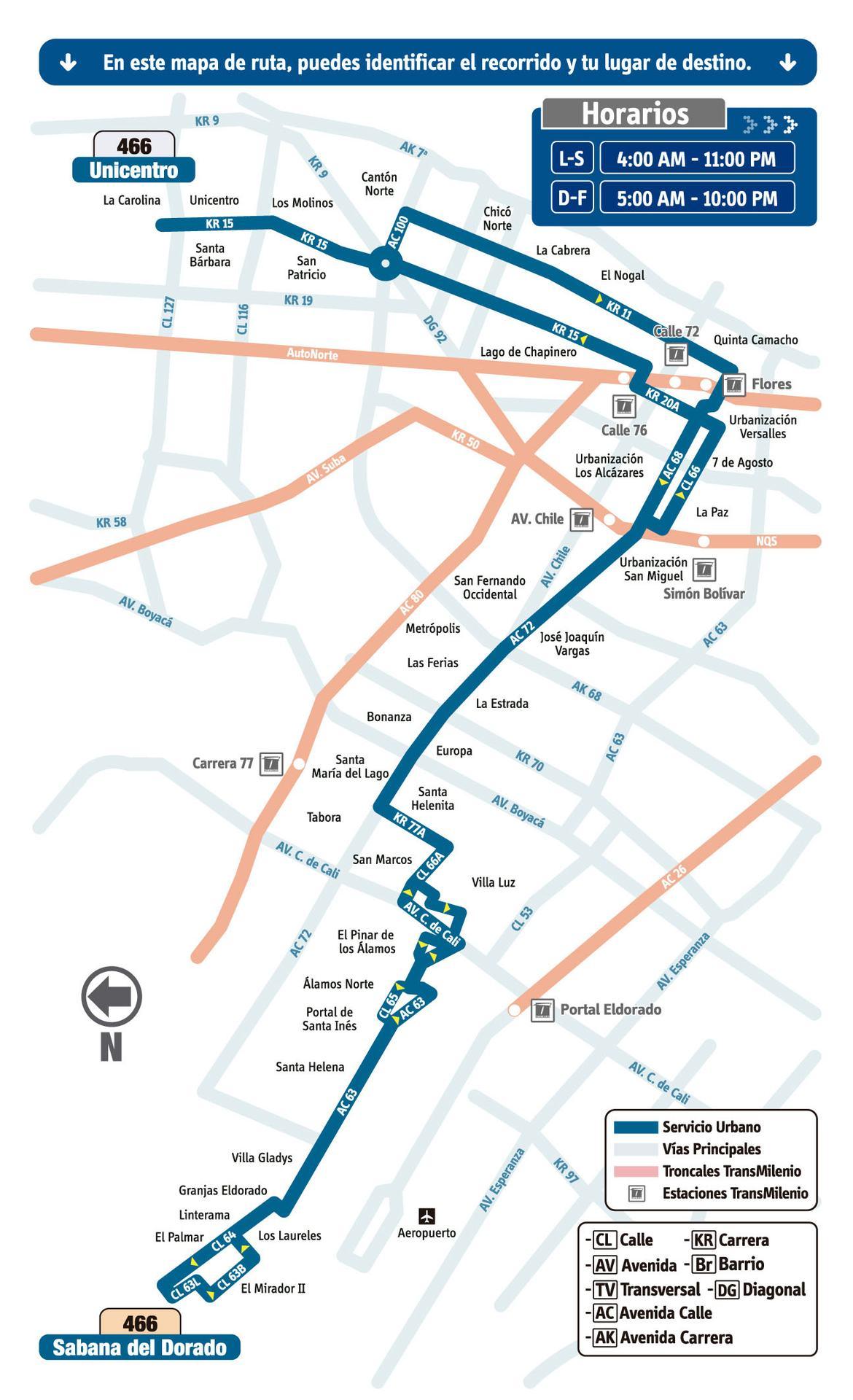 Ruta SITP: 466 Sabana del Dorado ↔ Unicentro [Urbana] 4