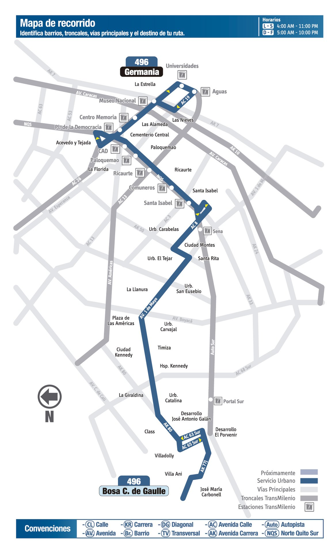 Ruta SITP: 496 Charles de Gaulle ↔ Germania [Urbana] 1