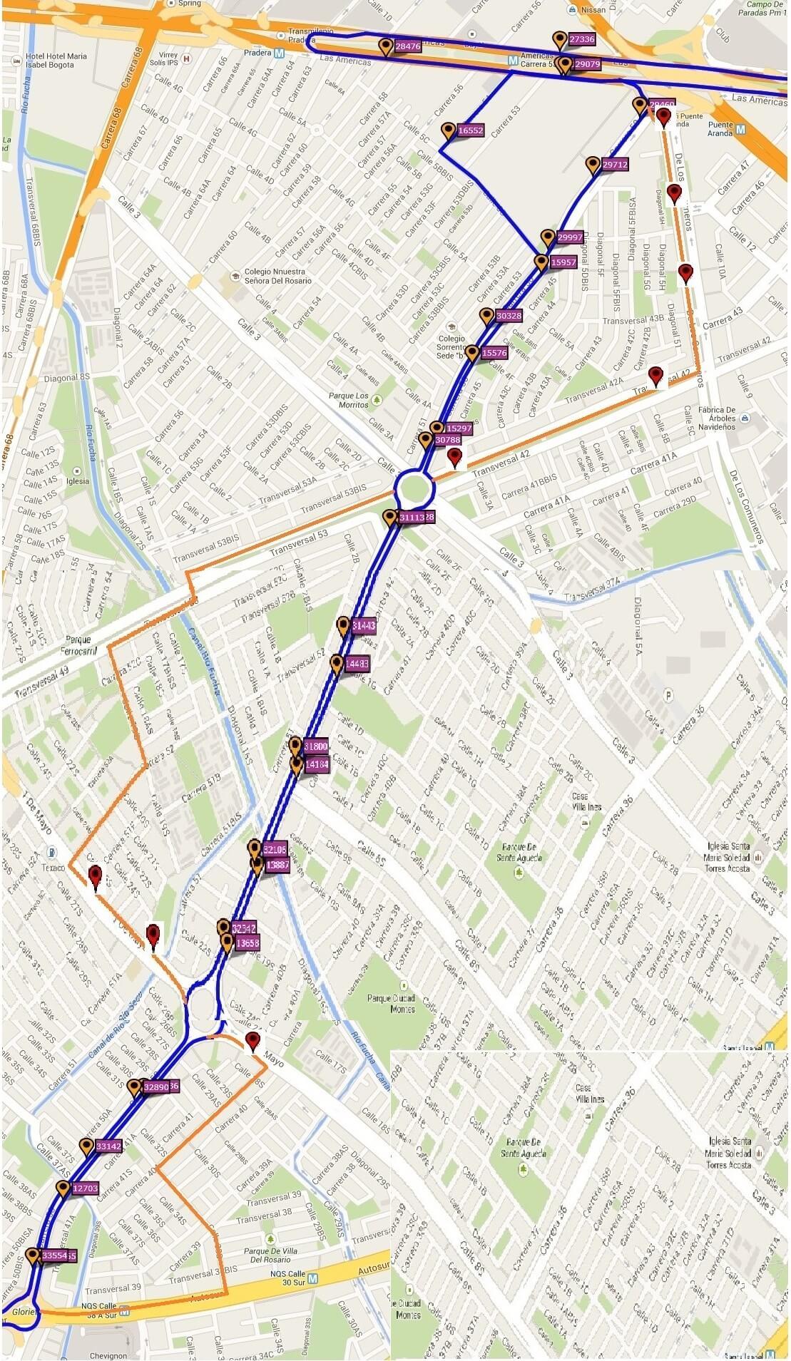 Ruta SITP: 579 El Recreo ↔ Centro Internacional [Urbana] 9