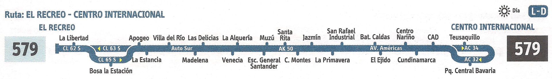 Ruta SITP: 579 El Recreo ↔ Centro Internacional [Urbana] 6