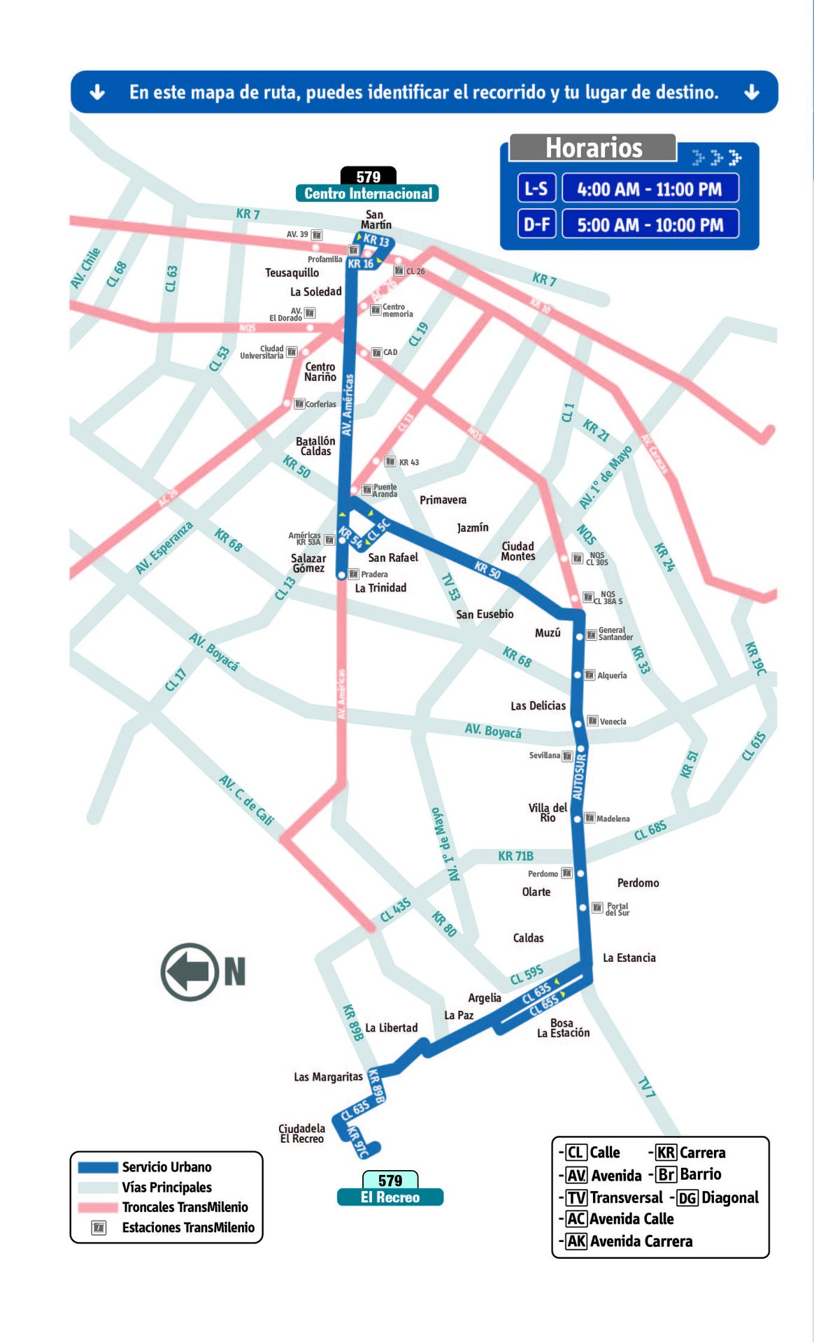Ruta SITP: 579 El Recreo ↔ Centro Internacional [Urbana] 7