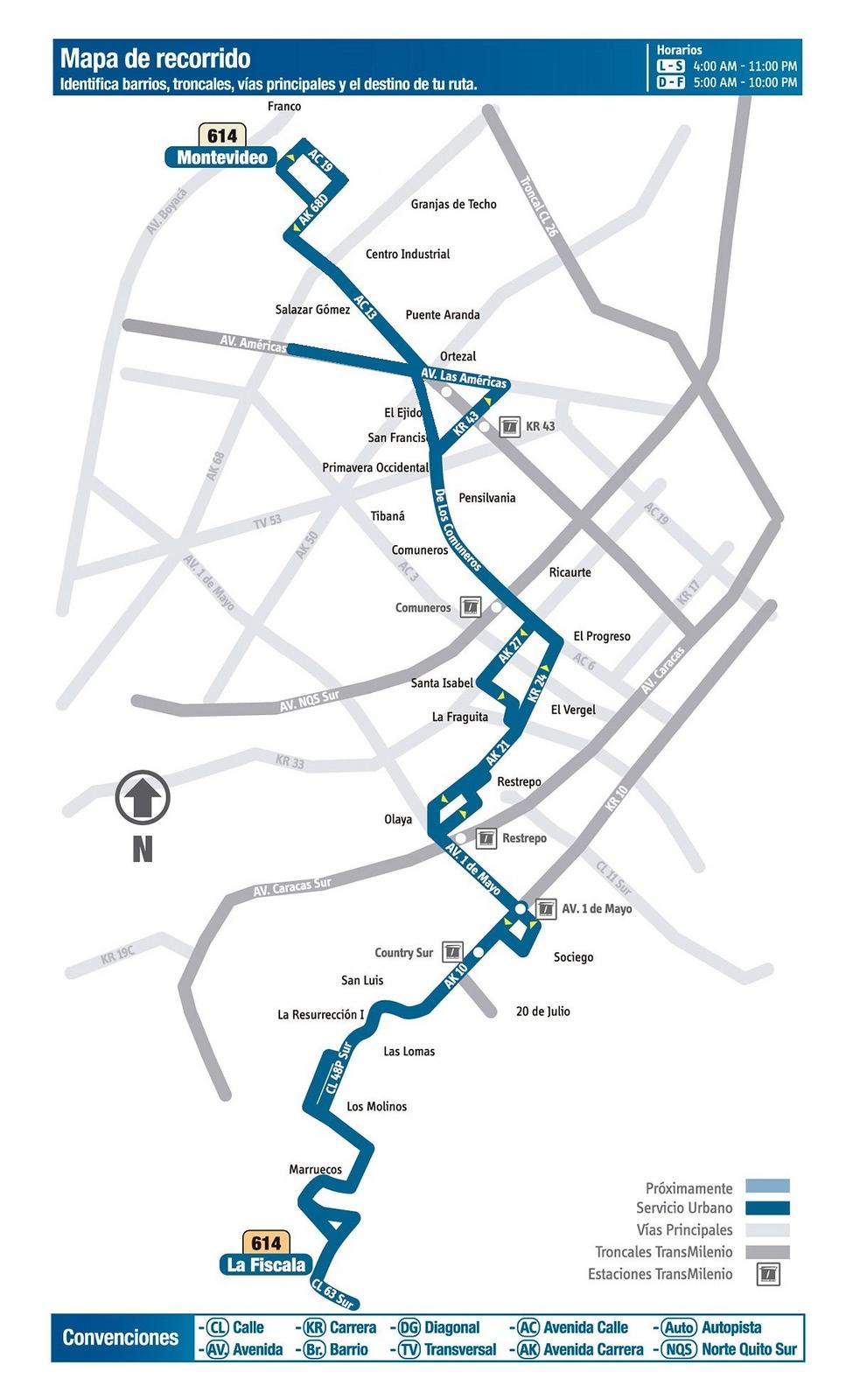 Ruta SITP: 614 La Fiscala ↔ Z. Ind. Montevideo (Recortada entre Molinos y Ricaurte) [Urbana] 3