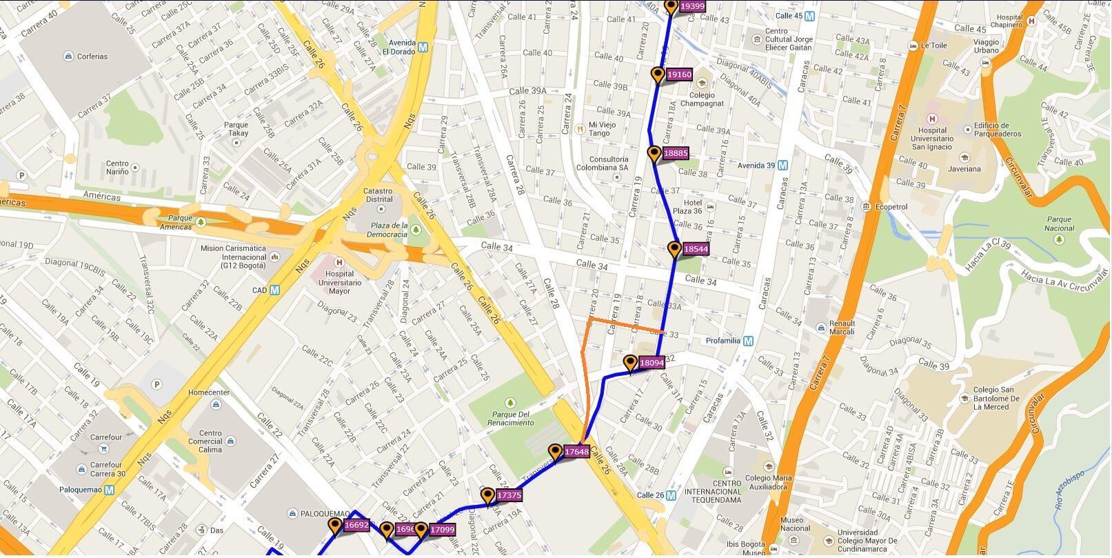 Ruta SITP: 621 Simon Bolívar ↔ Santo Domingo [Urbana] 6