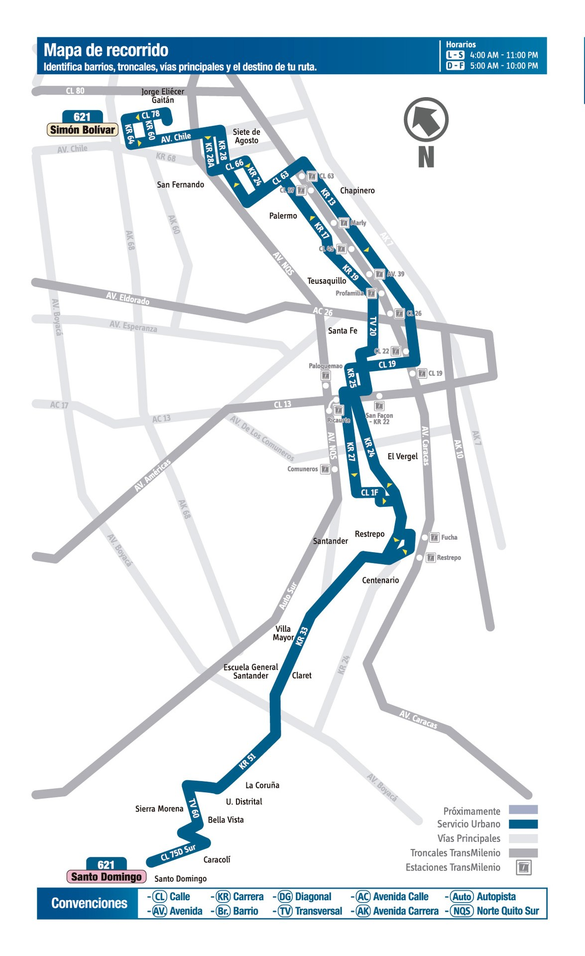 Ruta SITP: 621 Simon Bolívar ↔ Santo Domingo [Urbana] 3