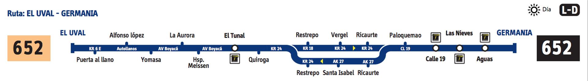 Ruta SITP: 652 Uval ↔ Germania [Urbana] 2