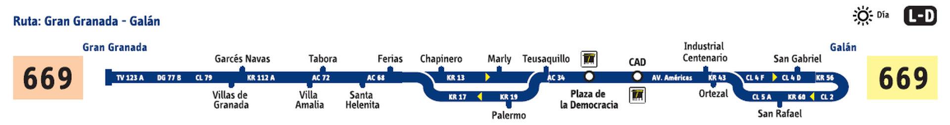 Ruta SITP: 669 Galán ↔ Gran Granada [Urbana] 2