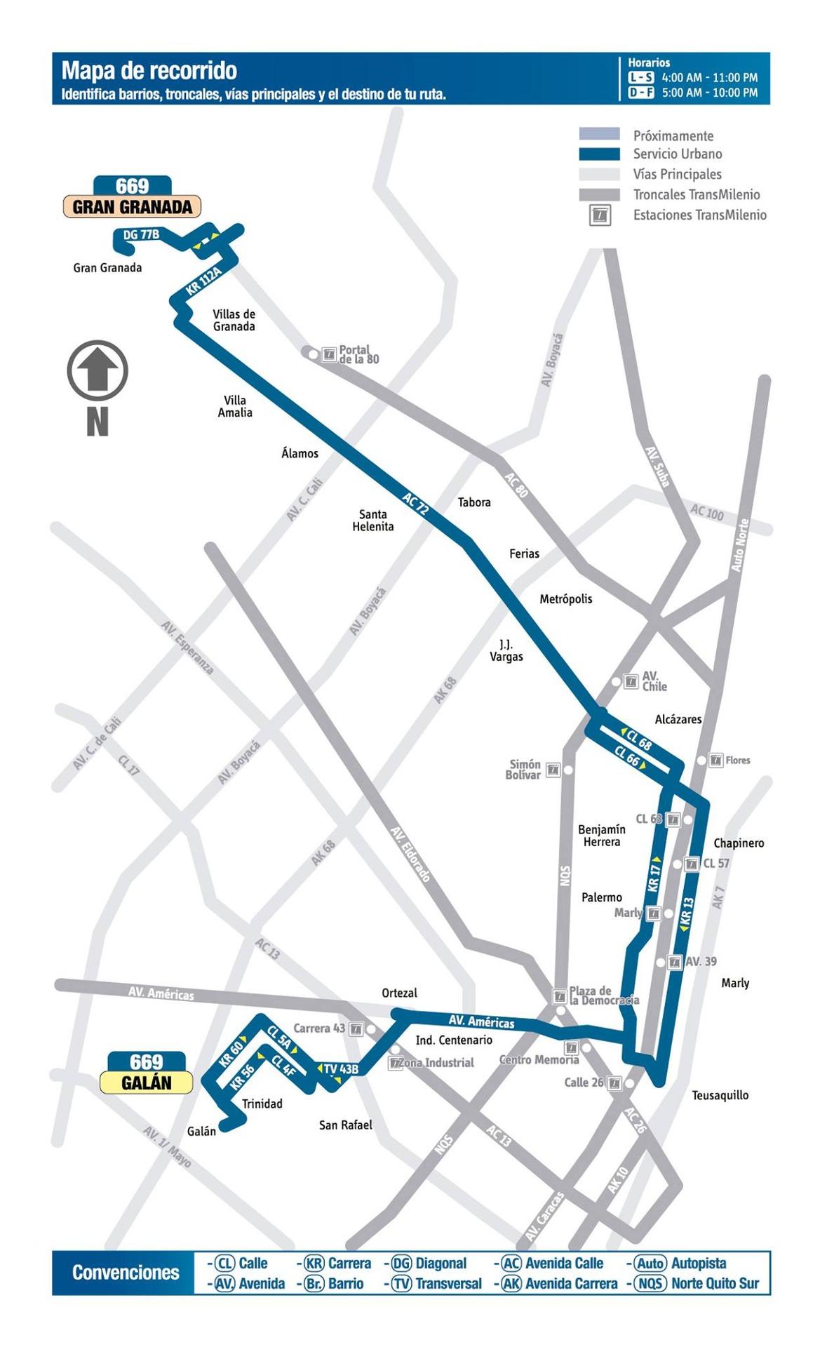 Ruta SITP: 669 Galán ↔ Gran Granada [Urbana] 6