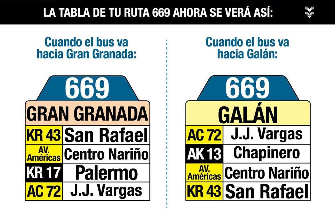 Ruta SITP: 669 Galán ↔ Gran Granada [Urbana] 7
