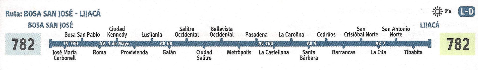 Ruta SITP: 782 Bosa, San José ↔ Lijacá [Urbana] 1
