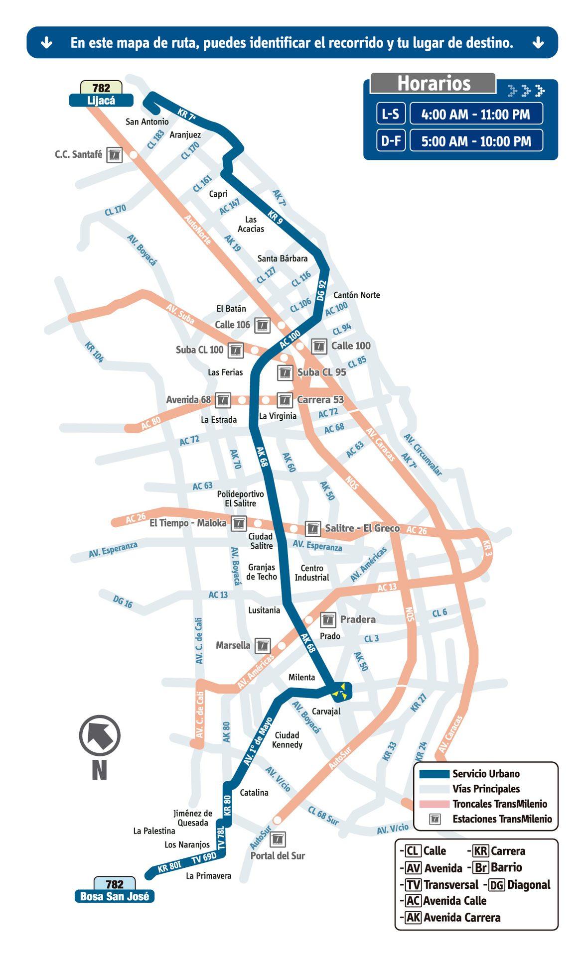 Ruta SITP: 782 Bosa, San José ↔ Lijacá [Urbana] 2