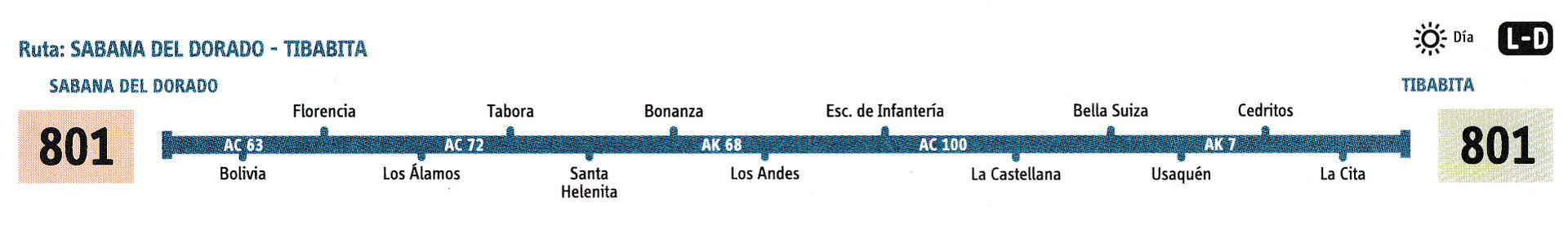 Ruta SITP: 801 Sabana del Dorado ↔ Torca [Urbana] 3