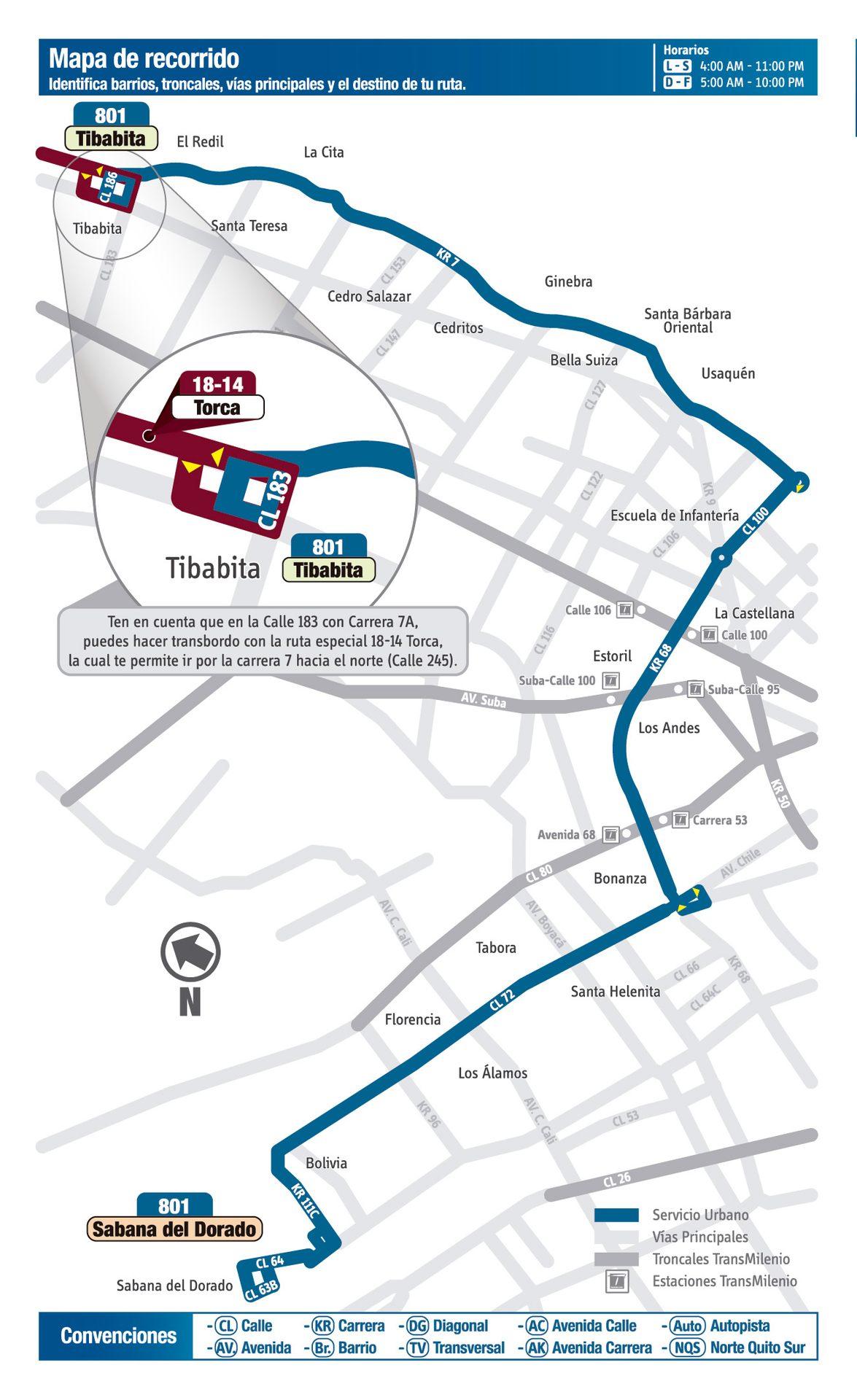 Ruta SITP: 801 Sabana del Dorado ↔ Torca [Urbana] 4