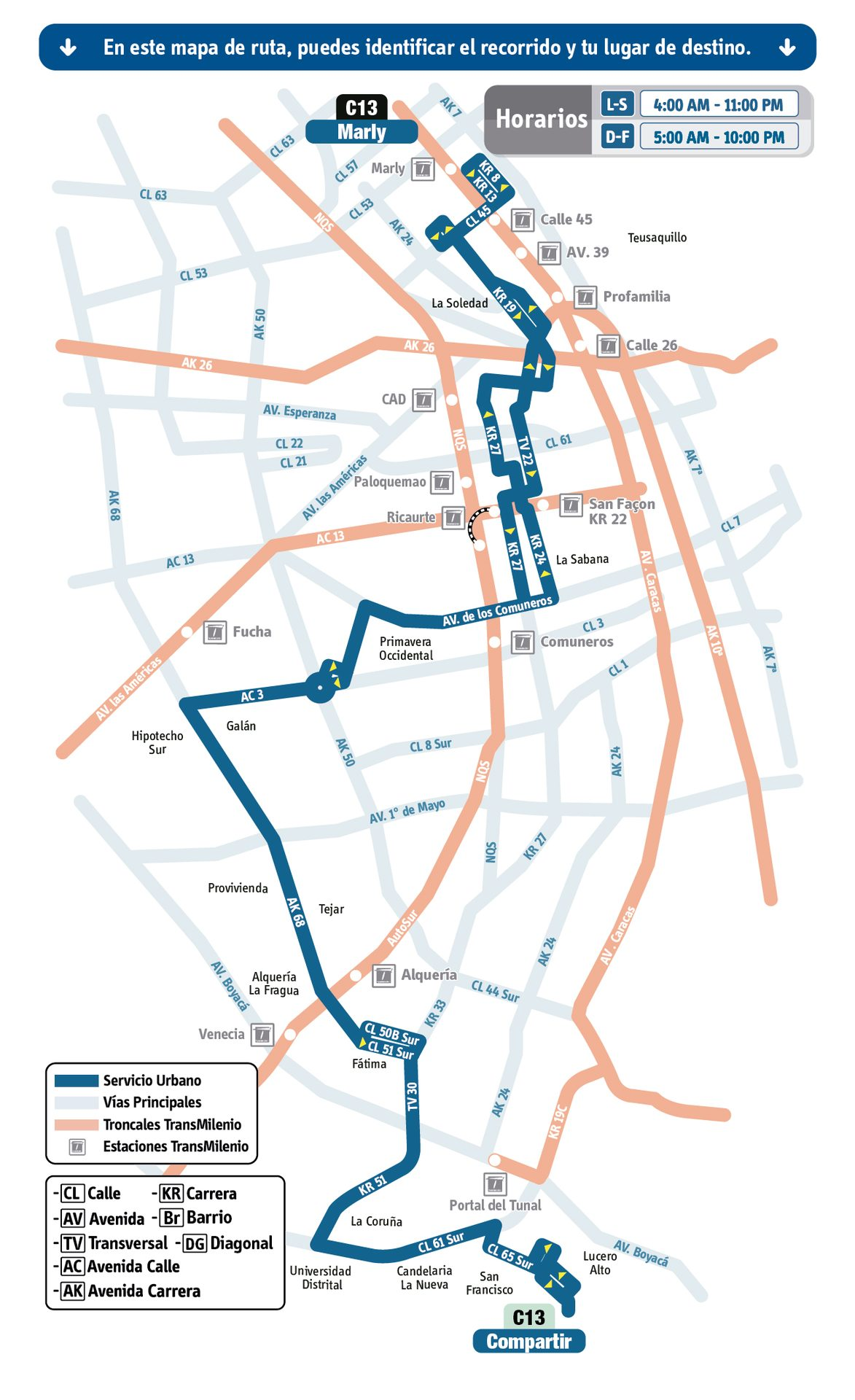 Ruta SITP: C13 Compartir ↔ Marly [Urbana] 2