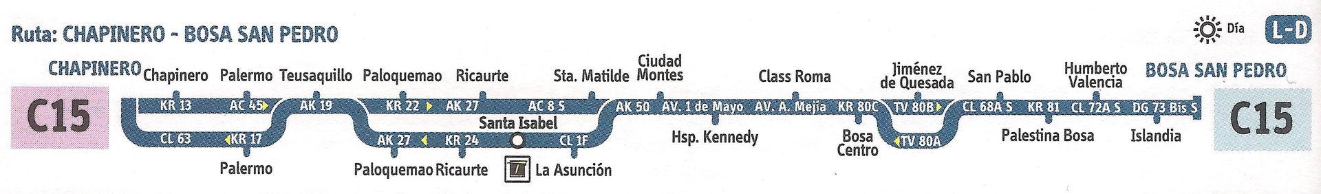 Ruta SITP: C15 Bosa, San Pedro ↔ Chapinero [Urbana] 2