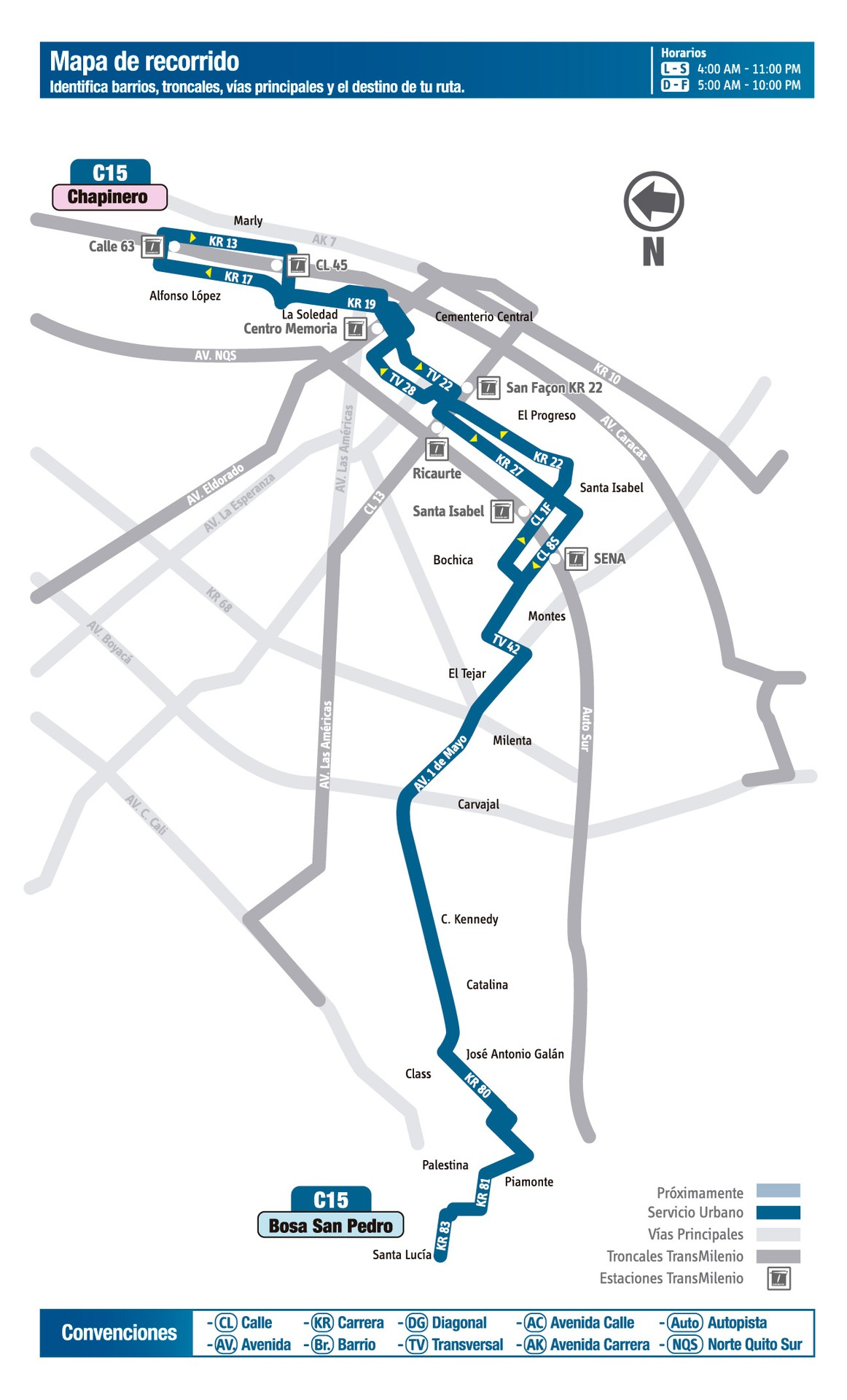 Ruta SITP: C15 Bosa, San Pedro ↔ Chapinero [Urbana] 3