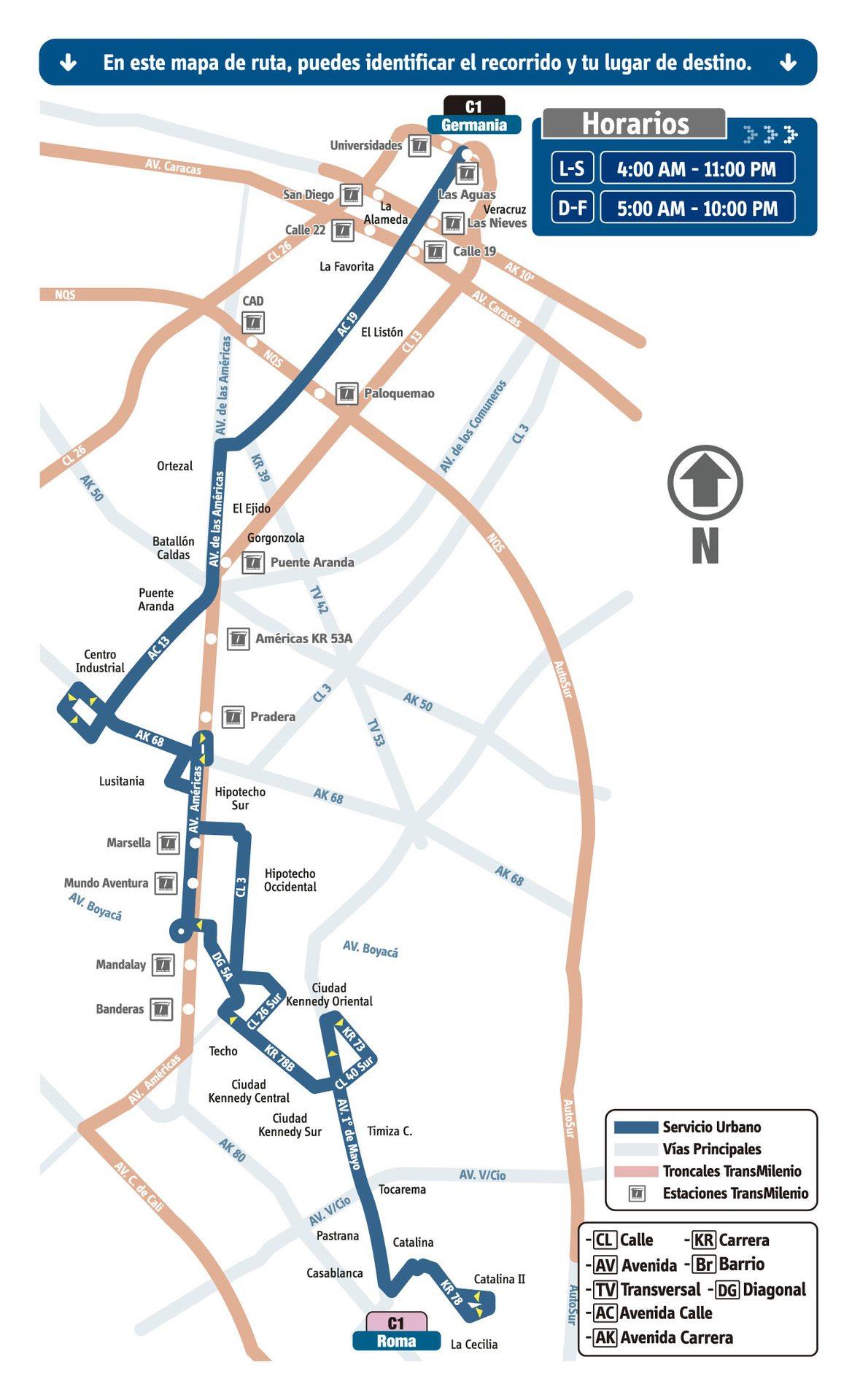 Ruta SITP: C1 Roma ↔ Germania [Urbana] 2