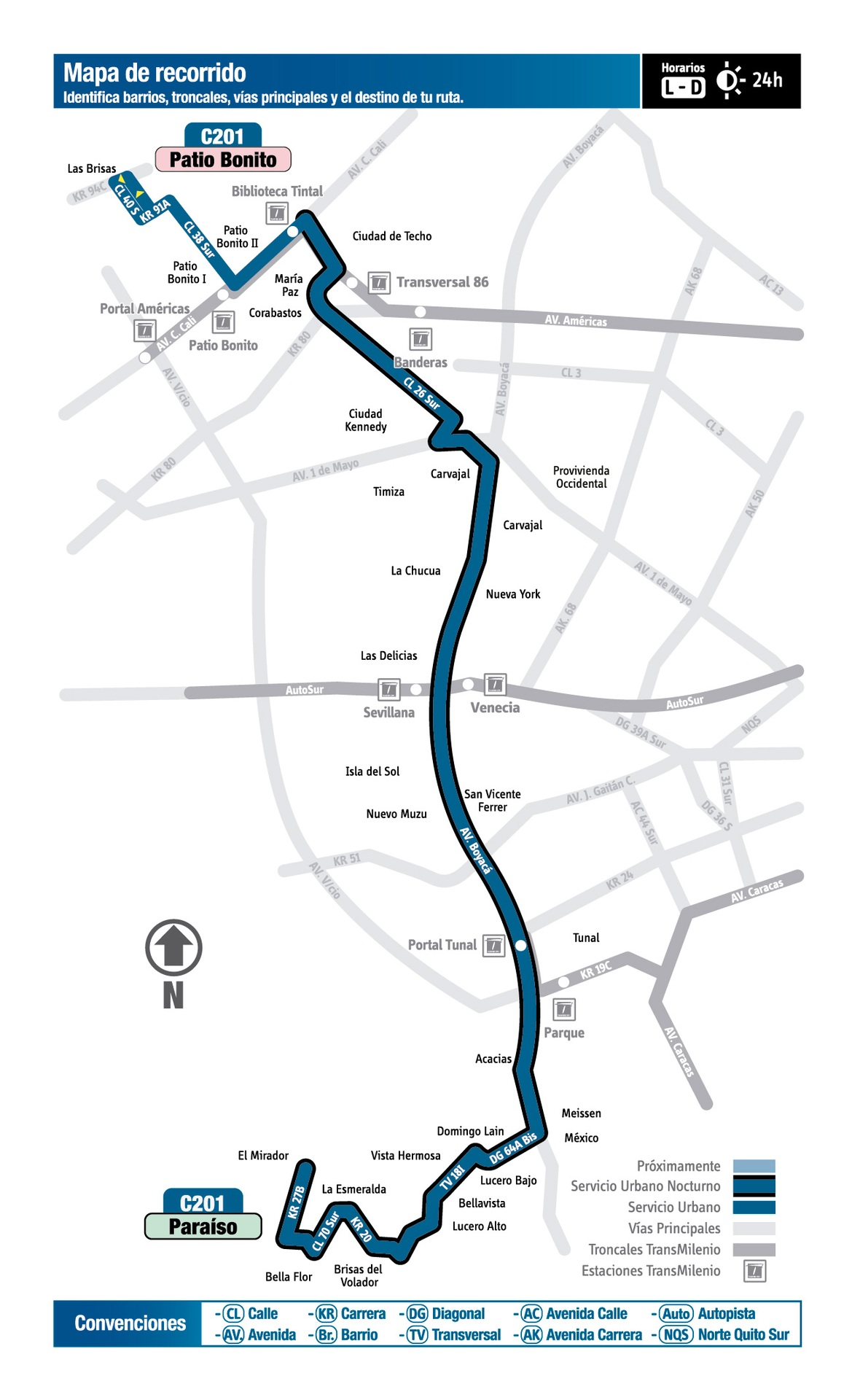 Ruta SITP: C201 Paraíso ↔ Patio Bonito [Urbana] 2