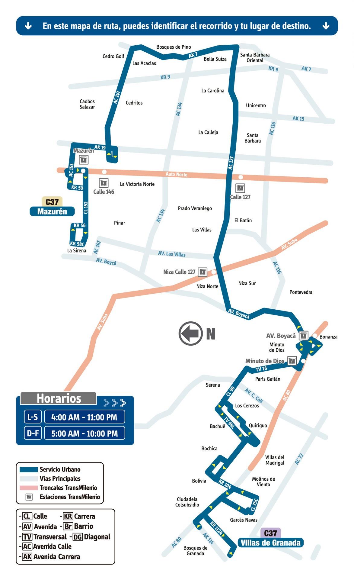 Ruta SITP: C37 Villas de Granada ↔ Mazurén [Urbana] 3