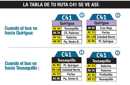 Ruta SITP: C41 Quirigua ↔ Teusaquillo [Urbana] 3