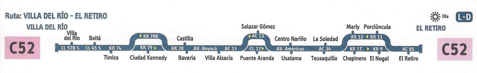 Ruta SITP: C52 Villa del Río ↔ El Retiro [Urbana] 1