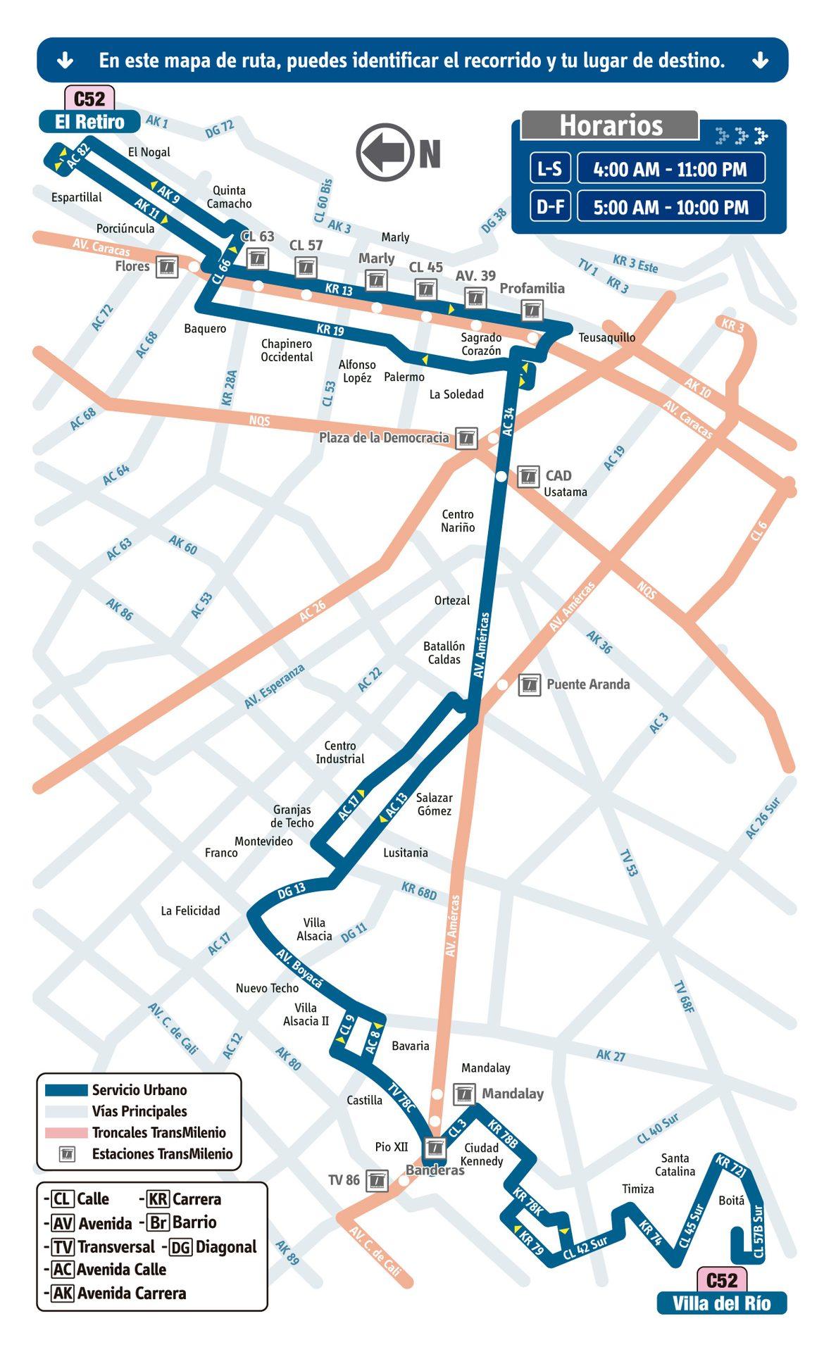 Ruta SITP: C52 Villa del Río ↔ El Retiro [Urbana] 2