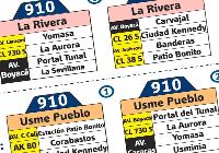Nueva ruta 910 (recortada): La Rivera - Usme Pueblo 1