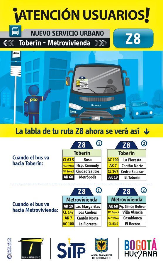 Nueva ruta urbana Z8 Toberín - Metrovivienda