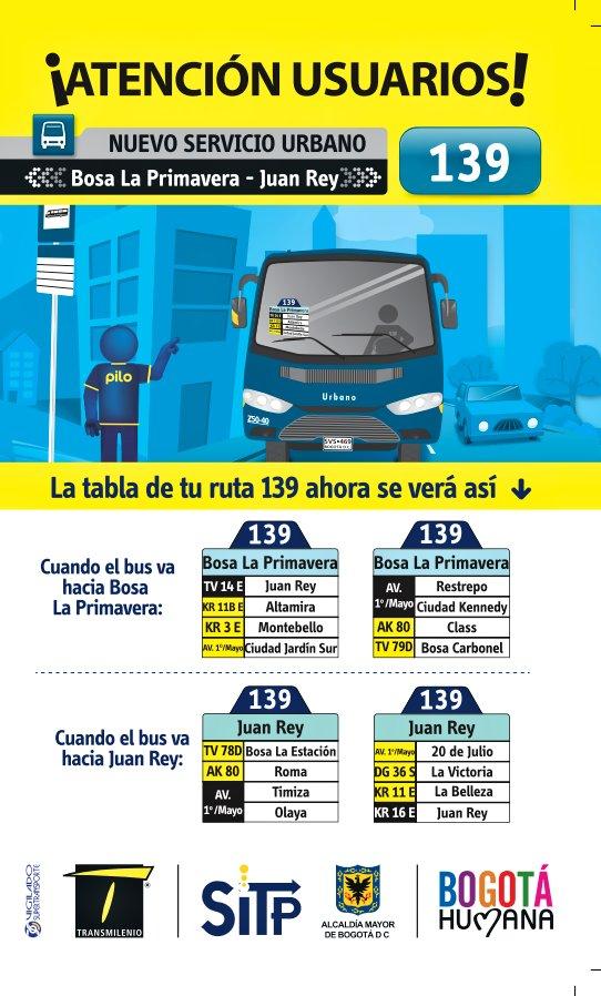 Inicia la nueva Ruta urbana 139: La Primavera - Juan Rey del SITP