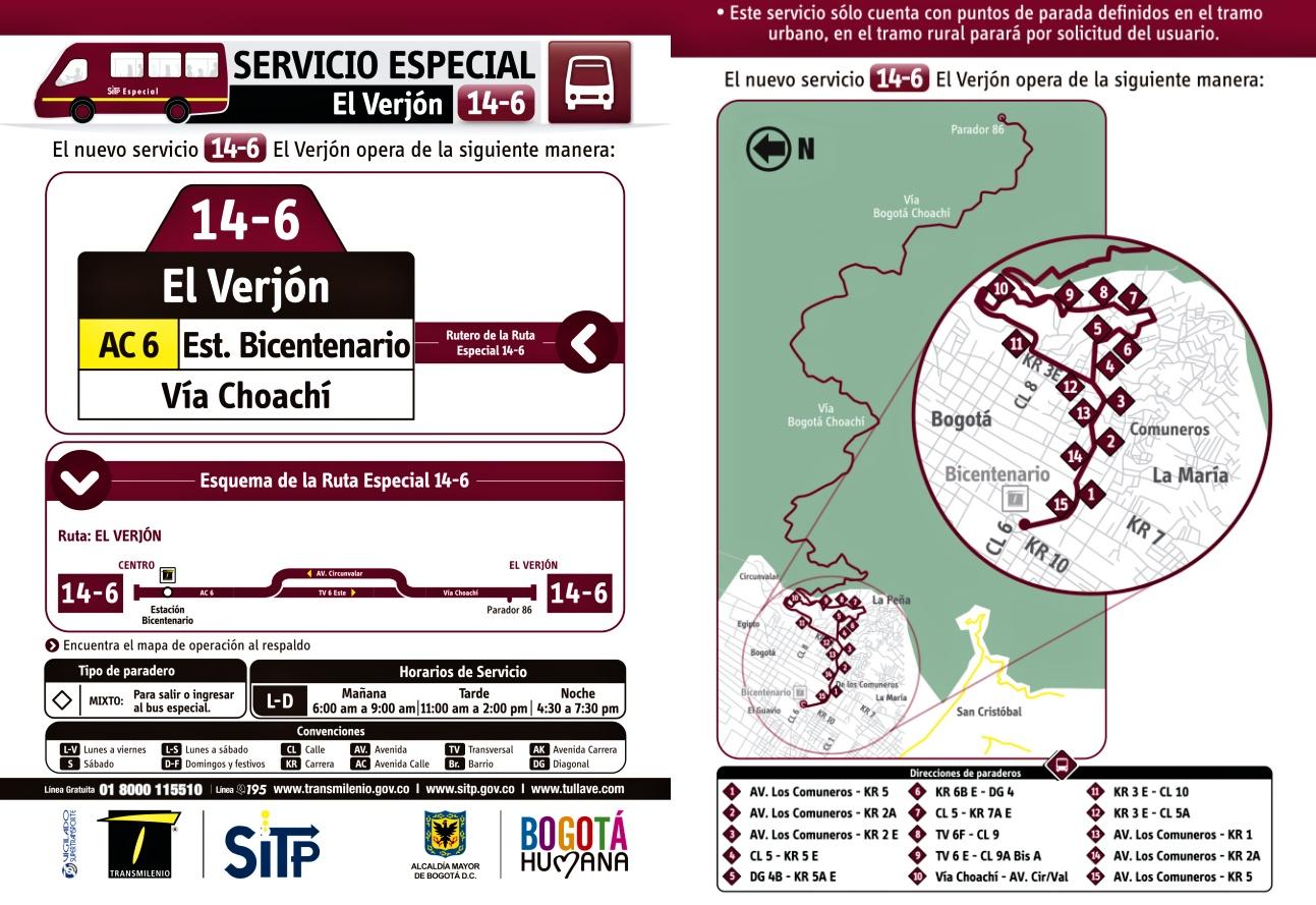Inicia la nueva ruta ESPECIAL - 14-6 El Verjón