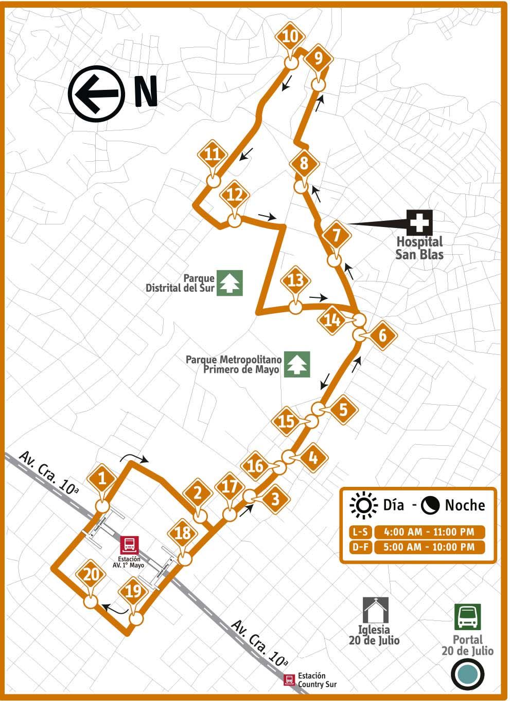 Ruta SITP: 15-2 San Cristóbal [Complementaria] 2