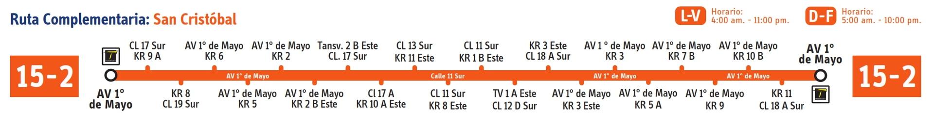 Ruta SITP: 15-2 San Cristóbal [Complementaria] 3