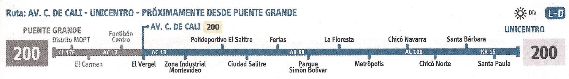 Ruta SITP: 200 Unicentro ↔ Puente Grande [Urbana] 2