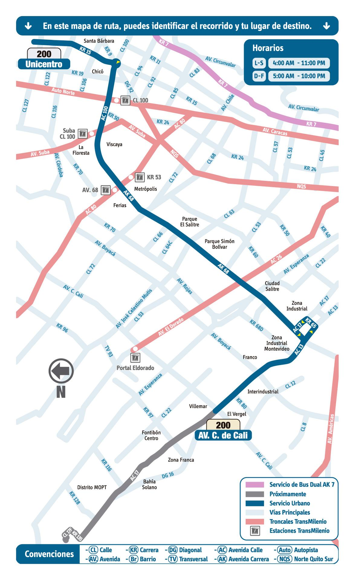 Ruta SITP: 200 Unicentro ↔ Puente Grande [Urbana] 3
