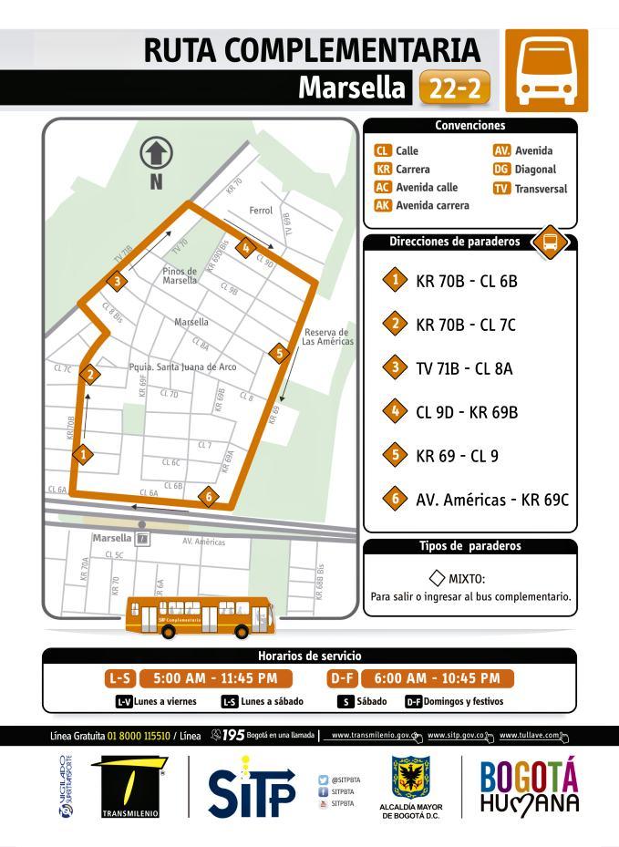 Nueva Ruta Complementaria: 22-2 Marsella Zona Tintal - Zona Franca 1