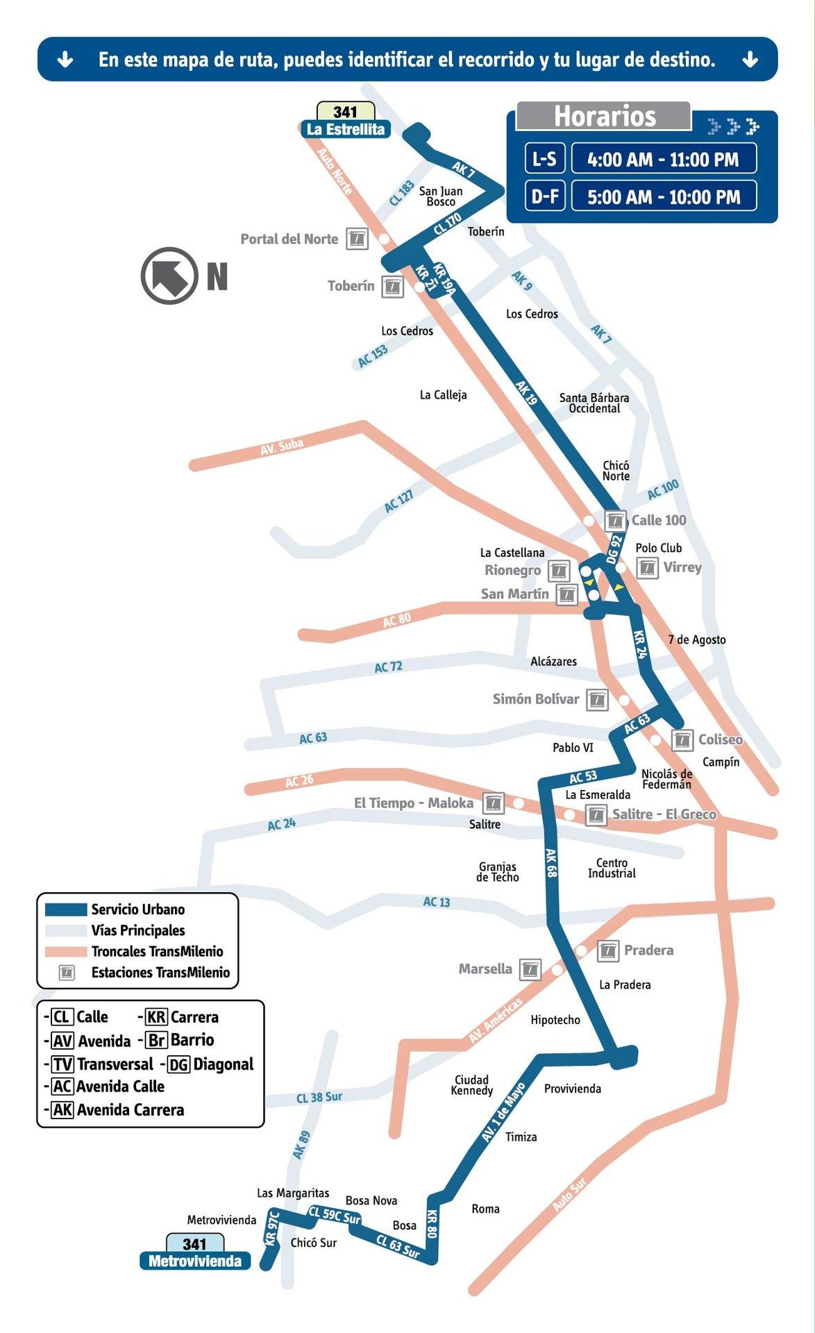 Ruta SITP: 341 Metrovivienda ↔ La Estrellita [Urbana] 3