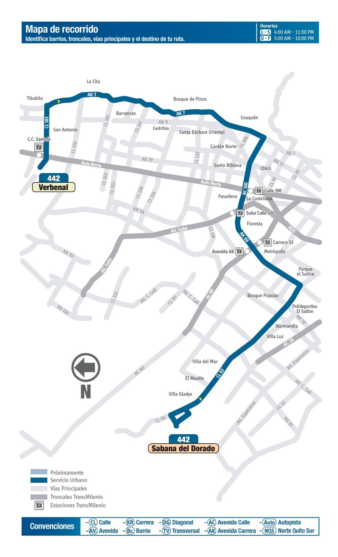 Ruta SITP: 442 Sabana del Dorado ↔ Verbenal [Urbana] 4