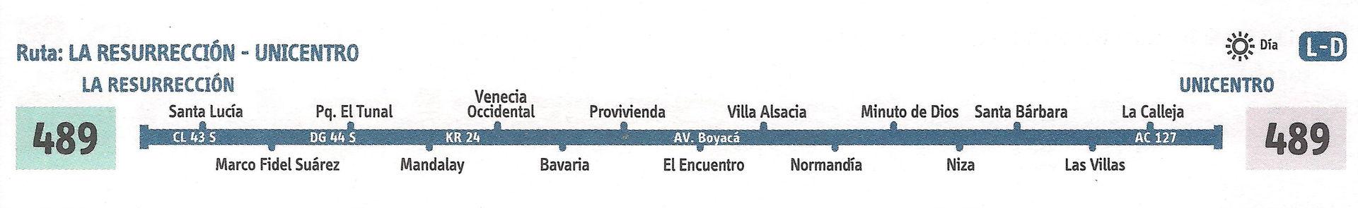 Ruta SITP: 489 Resurrección (Lomas) ↔ Unicentro [Urbana] 3