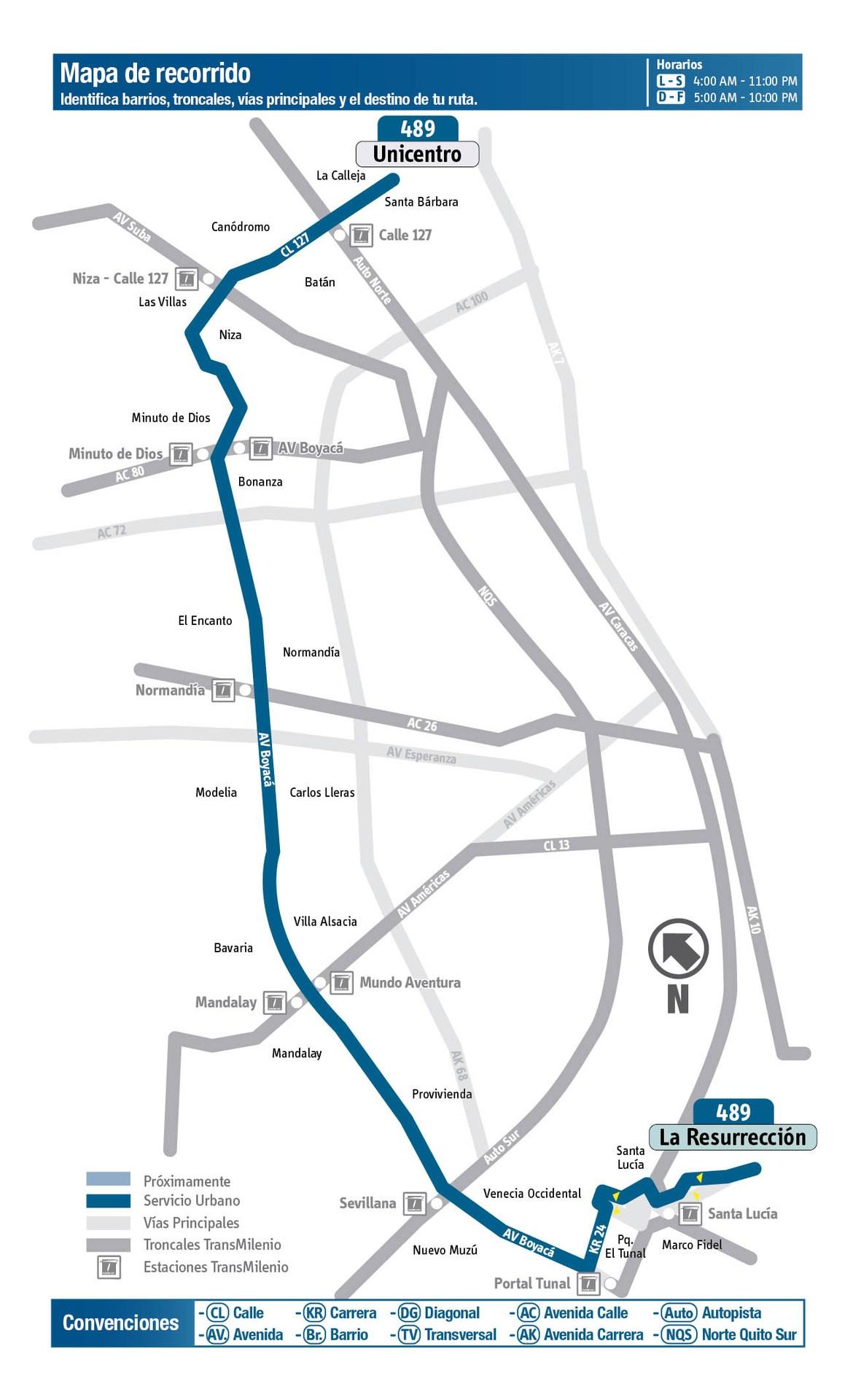 Ruta SITP: 489 Resurrección (Lomas) ↔ Unicentro [Urbana] 4