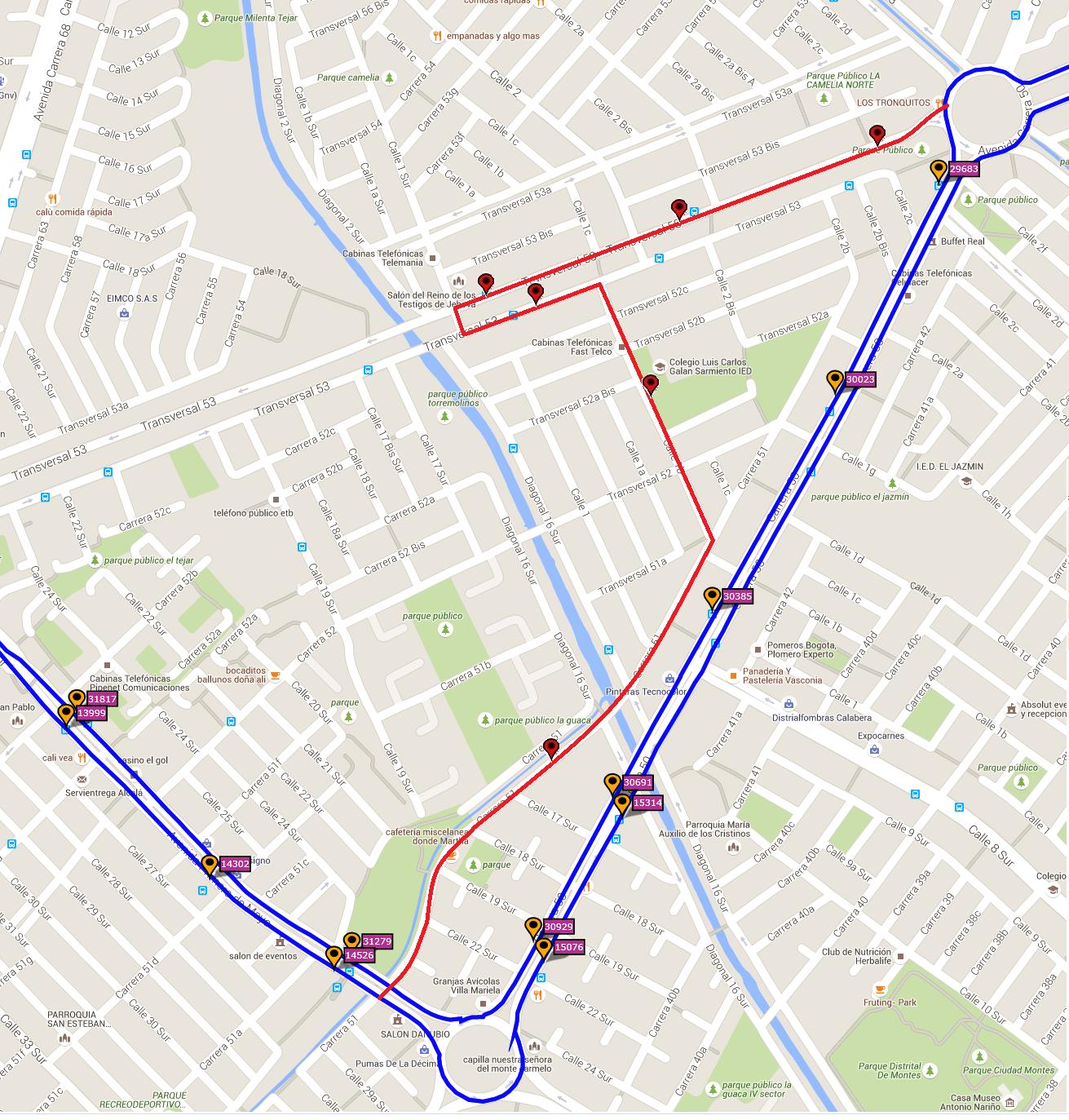 Ruta SITP: 552 La Estancia ↔ Archivo Distrital [Urbana]