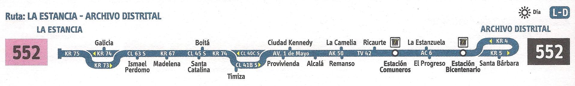 Ruta SITP: 552 Galicia ↔ Centro [Urbana] 5